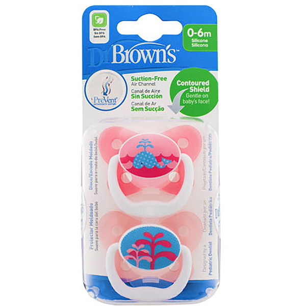 Dr Brown's PreVent Pacifer 6-12 Months - Pink (2 Pack)