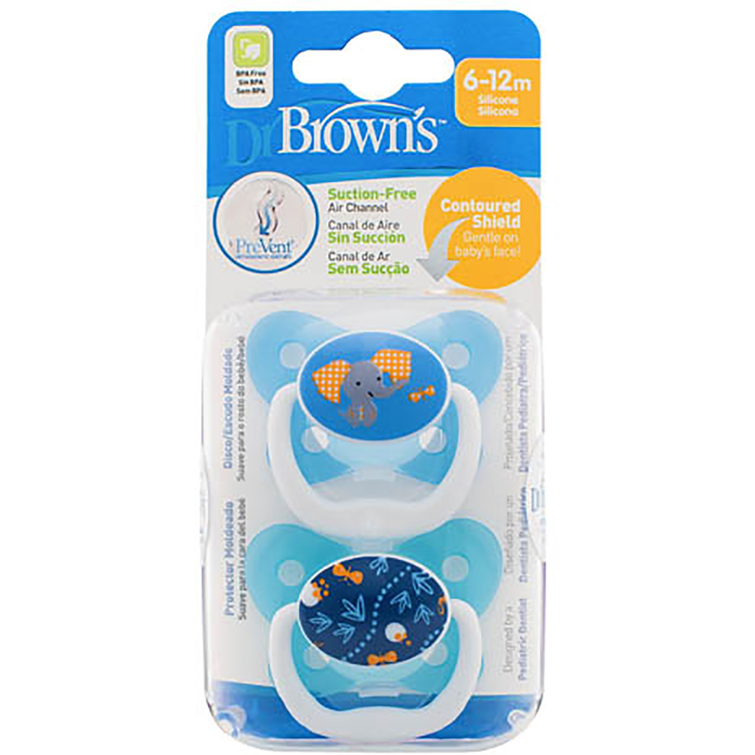 Dr Brown's PreVent Pacifer 6-12 Months - Blue (2 Pack)