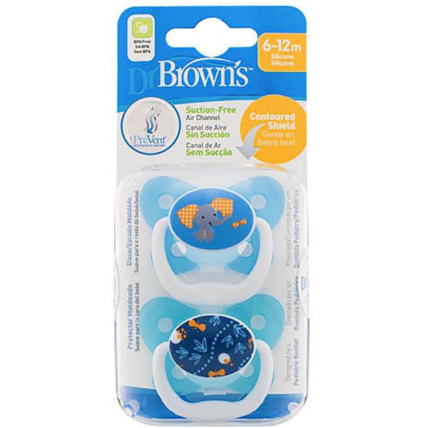 Dr Brown's PreVent Pacifer 6-12 Months - Blue (2 Pack)