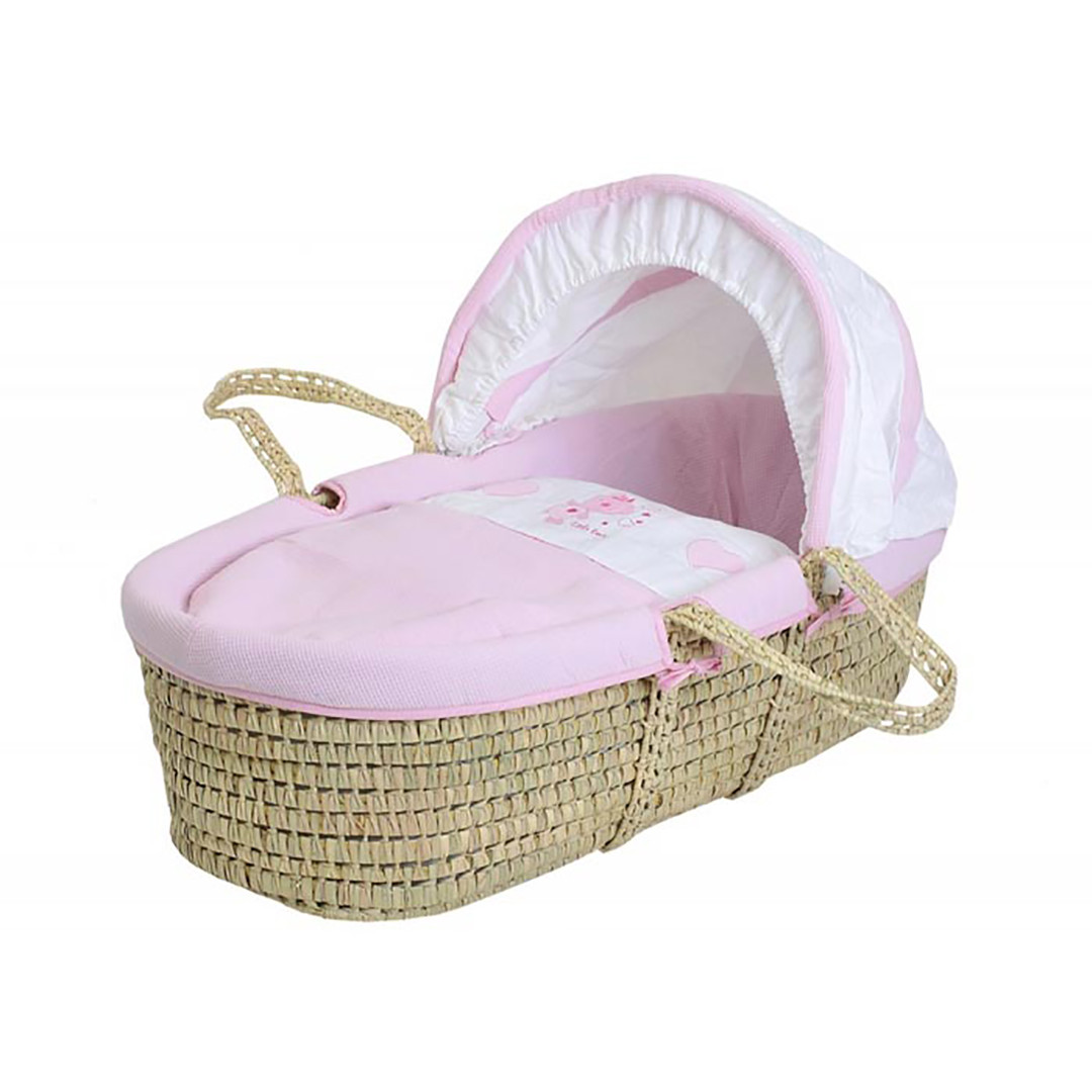 Baby Elegance Star Ted Moses Basket - Pink
