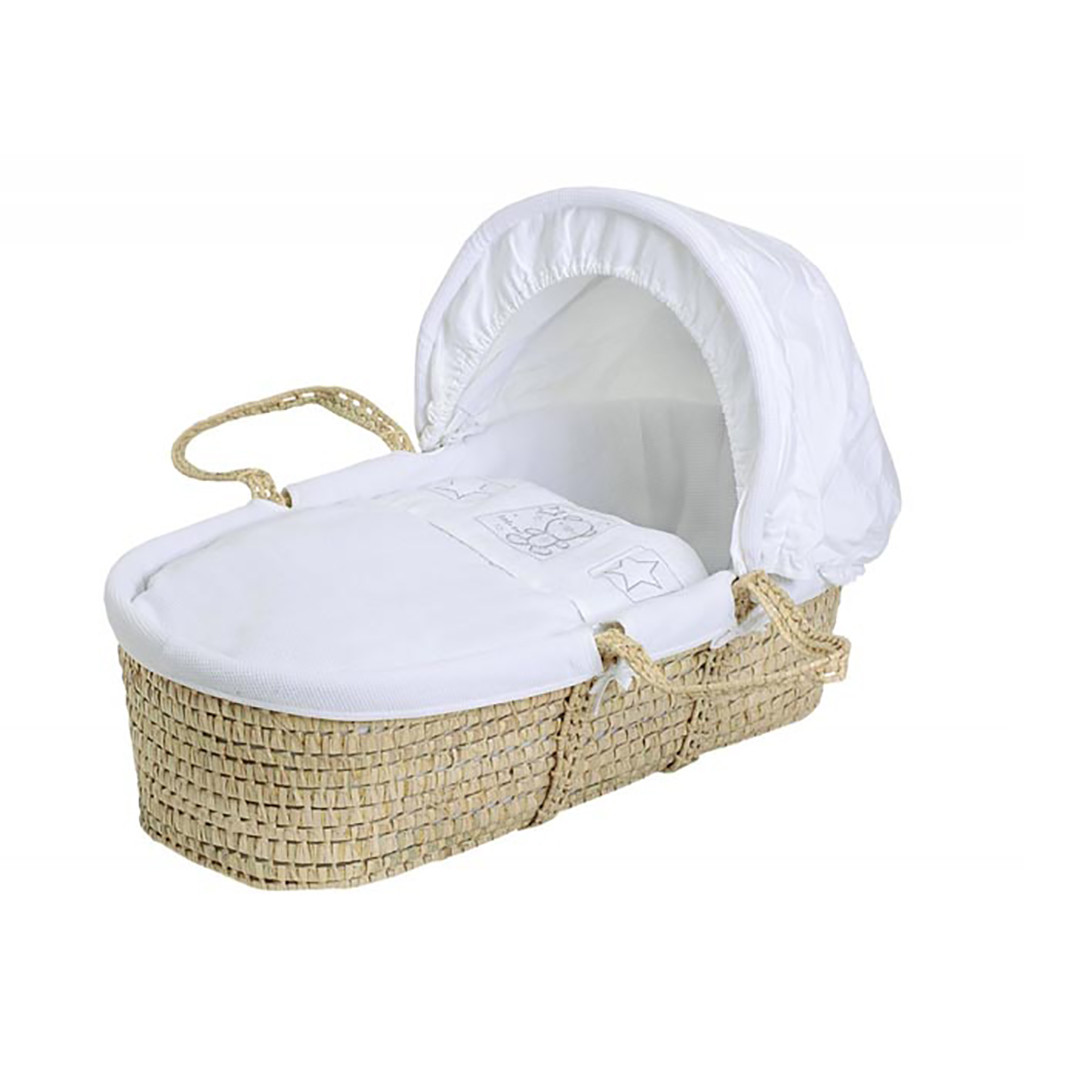 Baby Elegance Star Ted Moses Basket - White