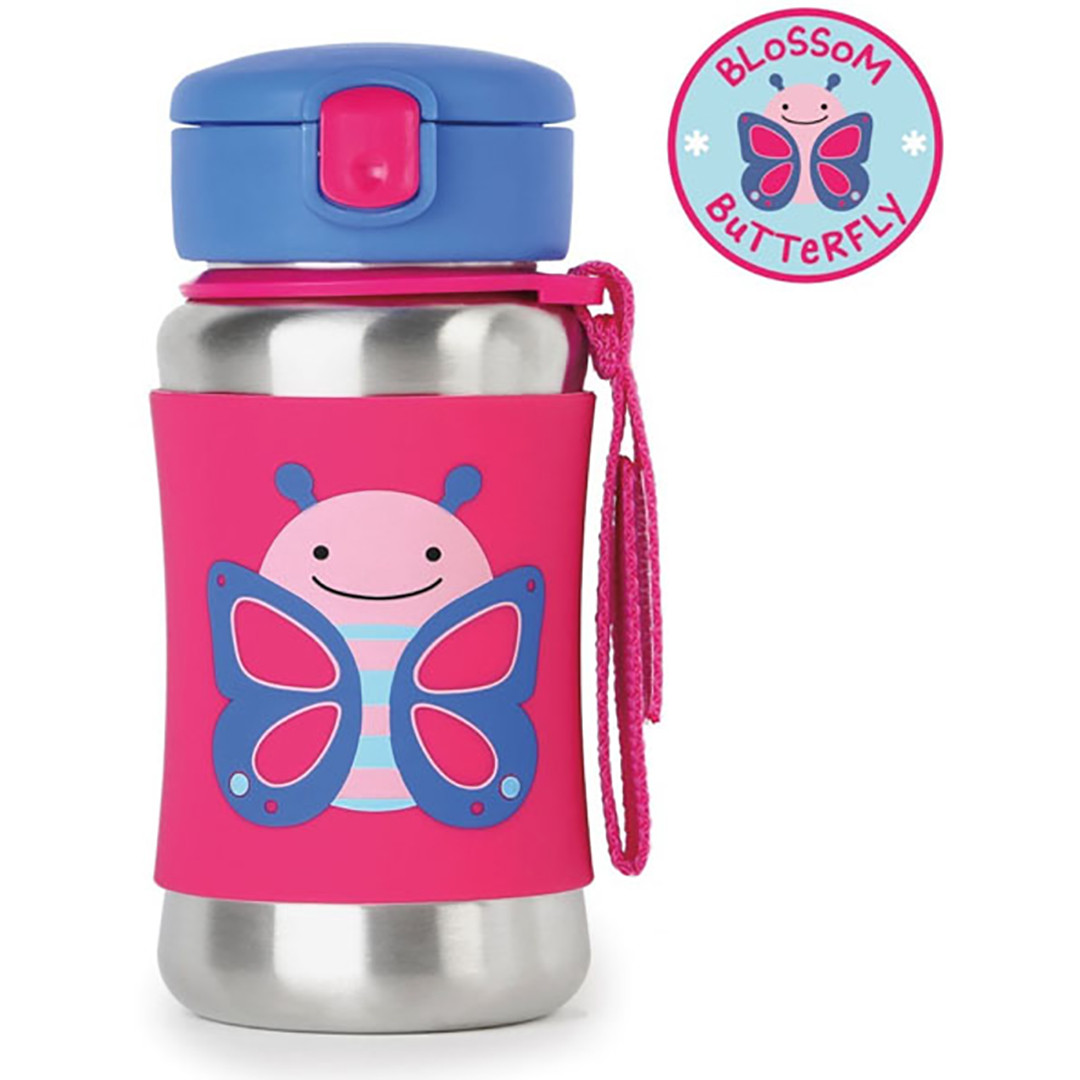 Skip*Hop Zoo Stainless Steel Straw Bottle - Butterfly