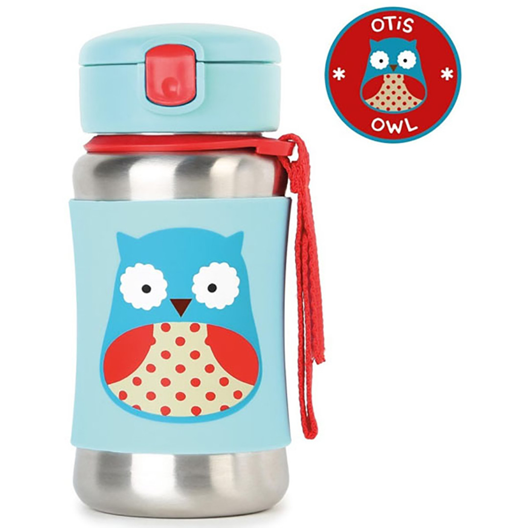 Skip*Hop Zoo Stainless Steel Straw Bottle - Owl