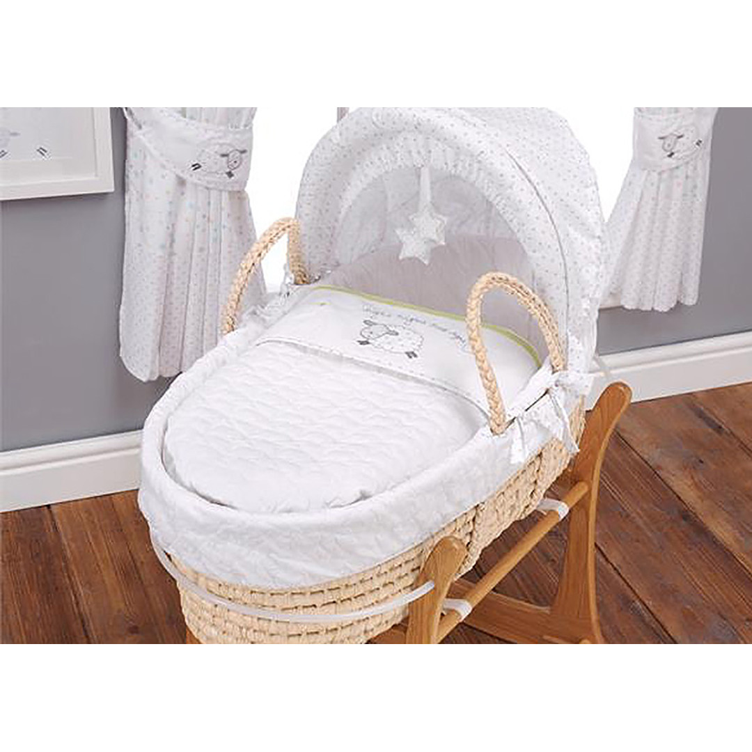East Coast Silver Cloud Moses Basket - Counting Sheep