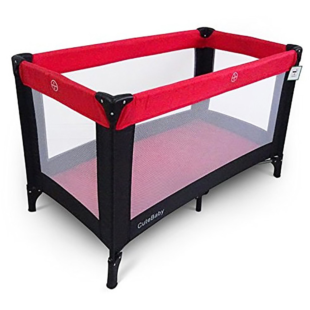 BR Nursery Travel Cot - Red & Black