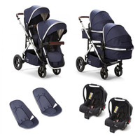 Cupla Duo Twin Travel System - Navy