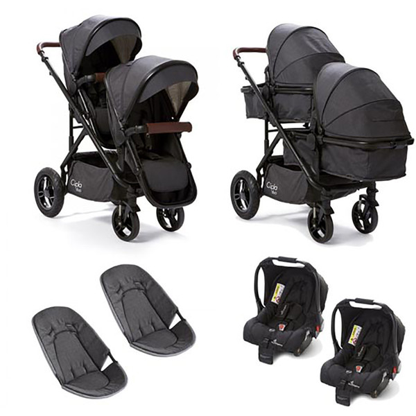 Cupla Duo Twin Travel System - Black