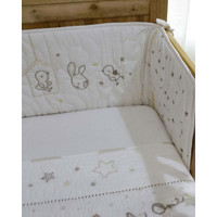 The One Essential- Bunny and Bird Hand Embroidered Cot Bumper