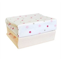 Cuddles Collection- Two Pack Jersey Fitted Sheets - Pink Star