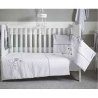 Clair De Lune Over The Moon Cot/Cot Bed Quilt & Bumper Bedding Set- Grey