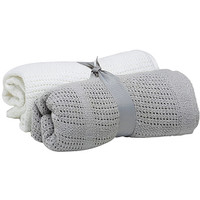Baby Elegance Cellular Blankets (2 Pack) - White/Grey