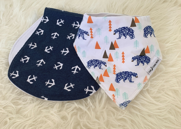 The Stork Box Bib & Burp Cloth Set - Boy