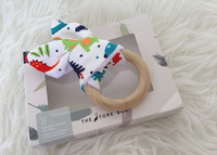 The Stork Box Wooden Teether - Dino