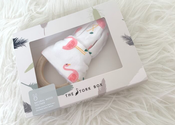 The Stork Box Wooden Teether - Flamingo