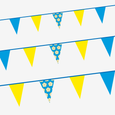 Blue, yellow & Yorkshire rose bunting