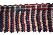 "3"" Red, White & Navy Silk Bullion Fringe"