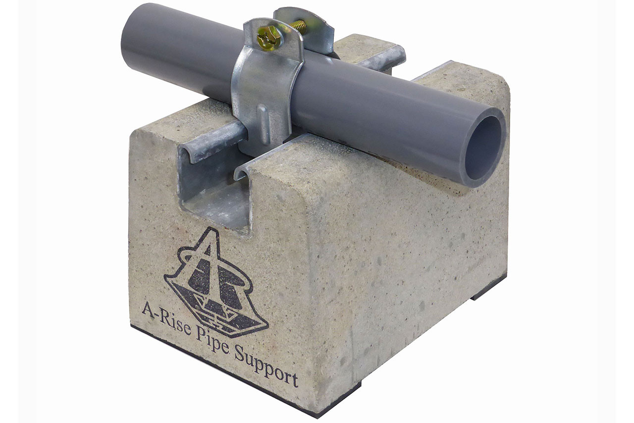 6 inch mortar block with pipe and clamps