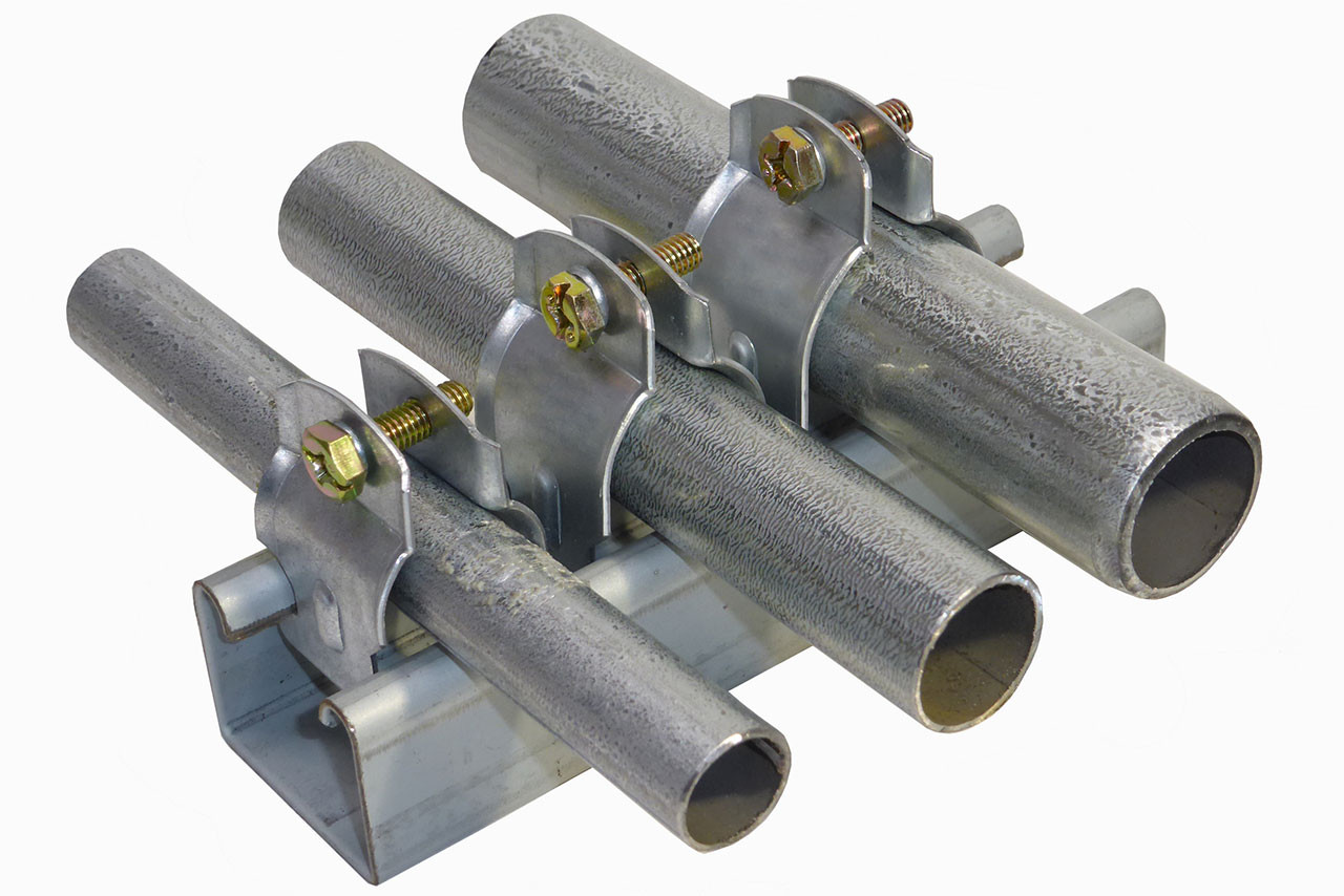 clamps come in 1/2 inch, 3/4 inch and 1 inch sizes.