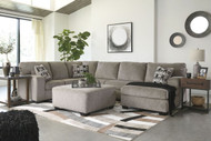 Ballinasloe Platinum LAF Sofa, Armless Loveseat, RAF Corner Chaise Sectional & Accent Ottoman