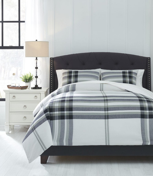 The Stayner Black/Gray Queen Comforter Set Available At