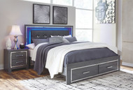 Lodanna Gray King Panel Bed with Storage
