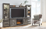 Wynnlow Gray LG TV Stand, 2 Piers, Bridge with Glass/Stone Fireplace Insert