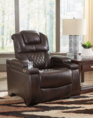 Warnerton Chocolate Power Recliner/ADJ Headrest