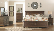 Flynnter Medium Brown 7 Pc. Dresser, Mirror, Chest, California King Panel Bed with Storage & Nightstand