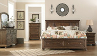 Flynnter Medium Brown 7 Pc. Dresser, Mirror, Chest, King Panel Bed with Storage & Nightstand