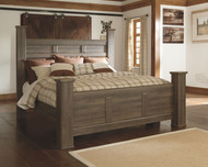 Juararo Dark Brown California King Poster Bed