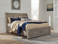 Lettner Light Gray King Sleigh Bed with Storage
