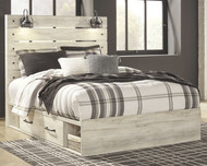 Cambeck Whitewash Queen Panel Bed with Side Storage