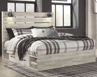 Cambeck Whitewash King Panel Bed with Side Storage