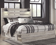 Cambeck Whitewash King Panel Bed with 2 Storages