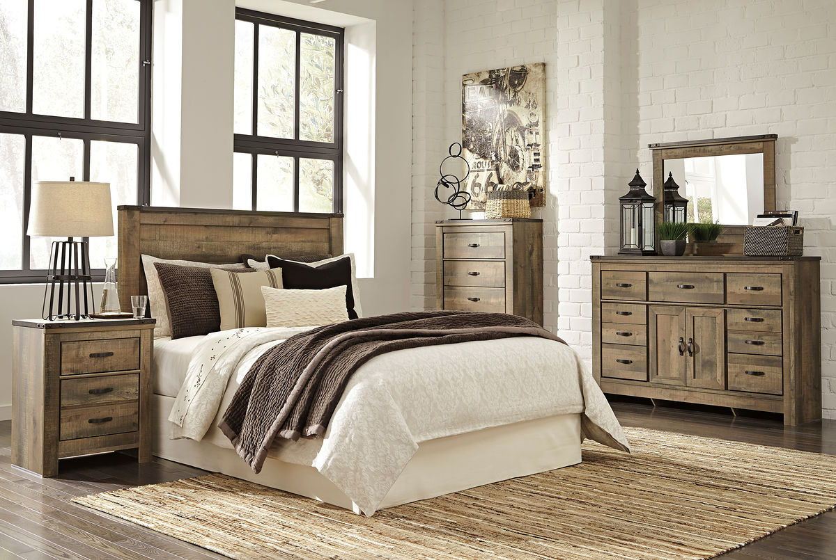 The Trinell Brown 5 Pc Dresser Mirror Chest Queen Panel Headboard Amp Nightstand Available At