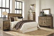 Trinell Brown 5 Pc. Dresser, Mirror, Chest, Queen Panel Headboard & Nightstand