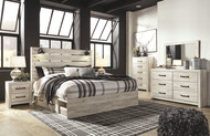 Cambeck Whitewash 9 Pc. Dresser, Mirror, Chest, King Panel Bed with Side Storage & 2 Nightstands