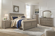 Lettner Light Gray 8 Pc. Dresser, Mirror, Chest, Queen Panel Bed & 2 Nightstands