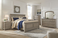 Lettner Light Gray 8 Pc. Dresser, Mirror, Chest, California King Panel Bed & 2 Nightstands