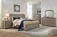 Lettner Light Gray 8 Pc. Dresser, Mirror, Chest, King Sleigh Bed with Storage & 2 Nightstands