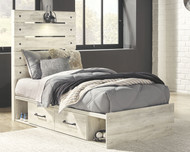 Cambeck Whitewash Twin Panel Bed with 2 Storages