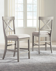 Parellen Gray Upholstered Barstool (Set of 2)