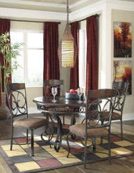 Glambrey Brown 5 Pc. Round  Table & 4 Upholstered Side Chairs