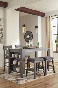 Caitbrook Dark Gray 5 Pc. Rectangular  Counter Table, 2 Upholstered Stools & 2 Upholstered Barstools