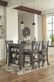 Caitbrook Dark Gray 5 Pc. Rectangular  Counter Table & 4 Upholstered Barstools