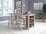 Skempton White/Light Brown 5 Pc. Rectangular Counter Table with Storage & 4 Upholstered Stools