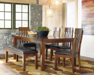 Ralene Medium Brown 6 Pc. Rectangular  EXT Table, 4 Upholstered Side Chairs & Upholstered Bench