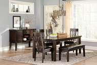 Haddigan Dark Brown 6 Pc. Rectangular  EXT Table, 4 Upholstered Side Chairs & Upholstered Bench