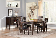 Haddigan Dark Brown 6 Pc. Rectangular  EXT Table, 4 Upholstered Side Chairs & Server
