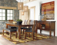 Ralene Medium Brown 7 Pc. Rectangular  Butterfly EXT Table, 4 Upholstered Barstools, Upholstered Bench & Server